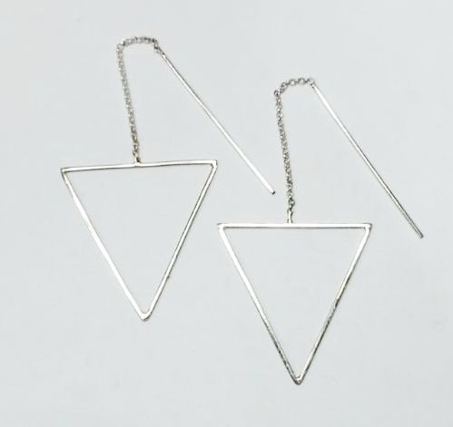 comprar baratas 8b5f2 23d6b Aros Plata Triangulo Colgantes Originales A Pedido
