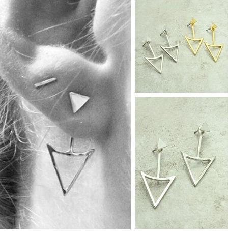 aros por atras de la oreja diseño color plata 925 color oro