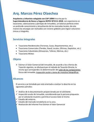 arq. tasador inmuebles /tasaciones/ valuador /banco/ fovipol