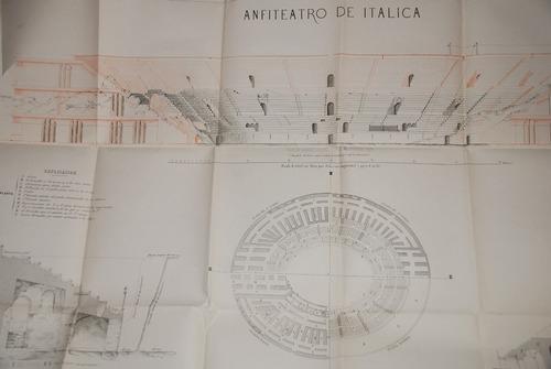arqueologia romana anfiteatro italica plano 1862