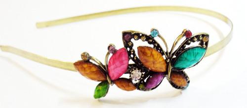 arquinho, tiara,  borboletas com strass, cód 9343