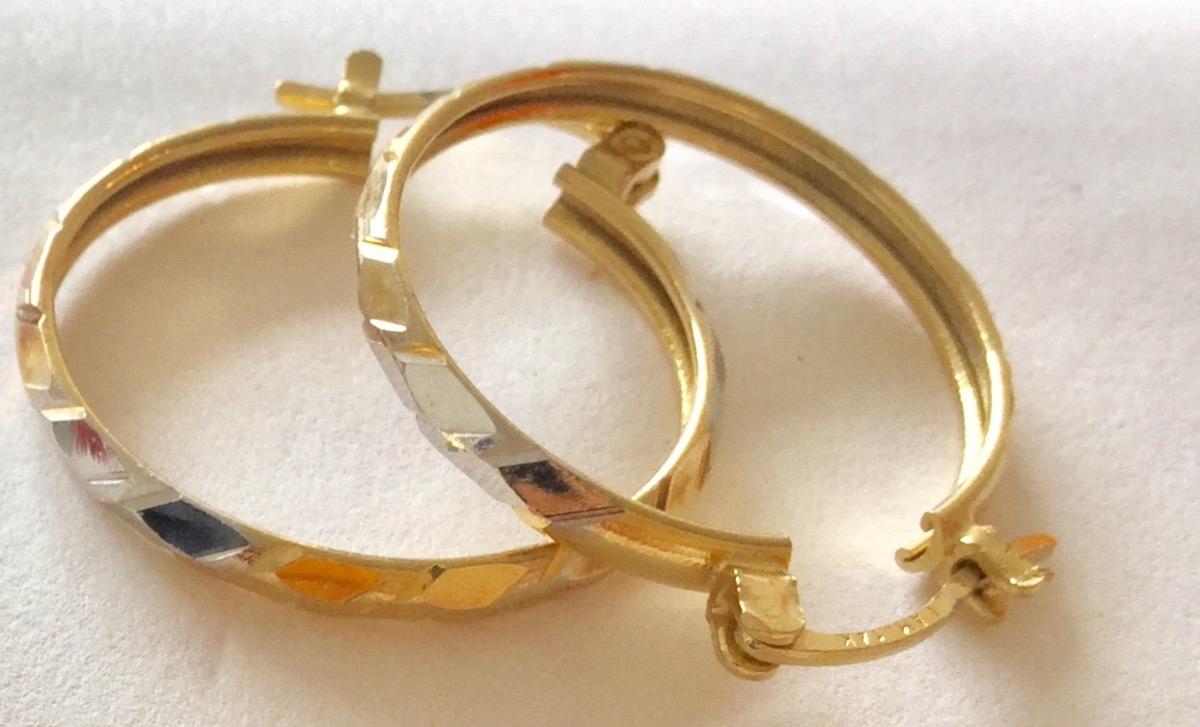 baratas para descuento de8af c1ed3 Arracadas Chapa De Oro 14k. Tres Colores. Facetadas. 2.2cm