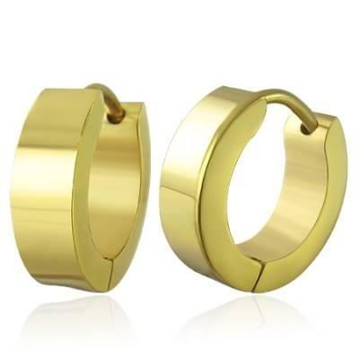 arracadas de acero inoxidable dorado diseño liso