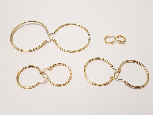 arracadas de oro 4 pares en diferentes tamaños