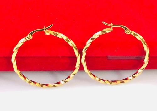 arracadas oro lam 18k 3.8 cms + aretes sorpresa regalo