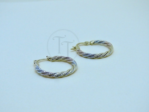 arracadas torsal gold filled italiano 18k white-gold-red 3 t