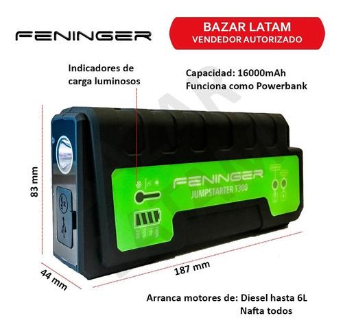 arrancador bateria auto portatil feninger t-300 16000mah