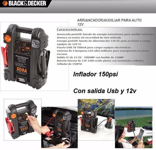 arrancador bateria inflador 12v black decker usb luz le 500a