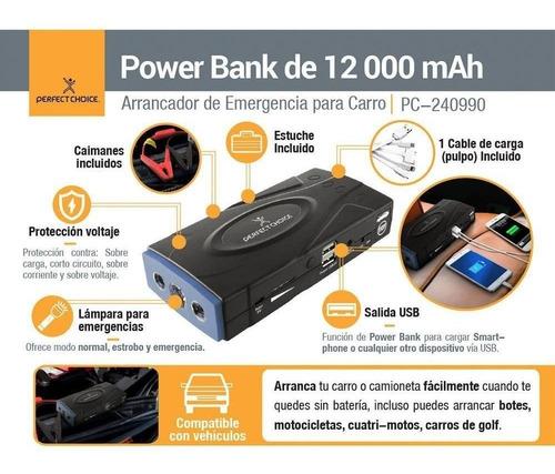 arrancador de carro con power bank 12000 mah perfect choice