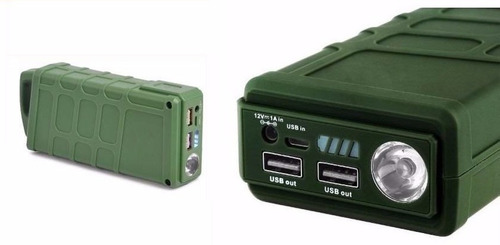 arrancador portatil auto moto 600 a cargador usb 2,1amp led
