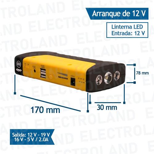 arrancador portatil cargador baterias auto moto lanchas led