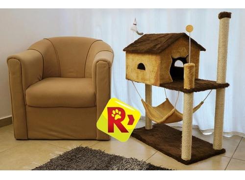 arranhador para gato casa com rede para gatos house marrom