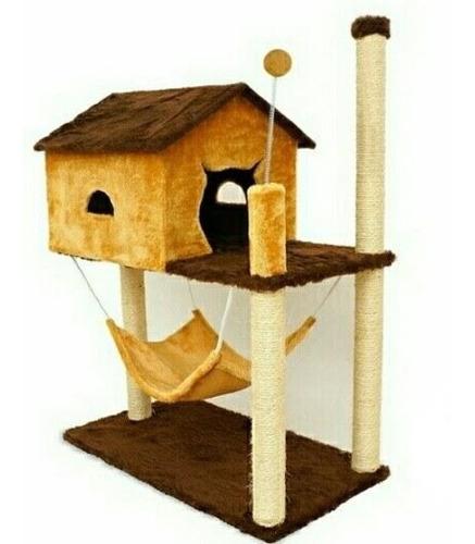 arranhador para gato casa com rede pelúcia e sisal