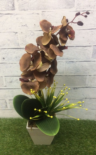 arranjo artificial orquídea envelhecida 60cm vaso madeira