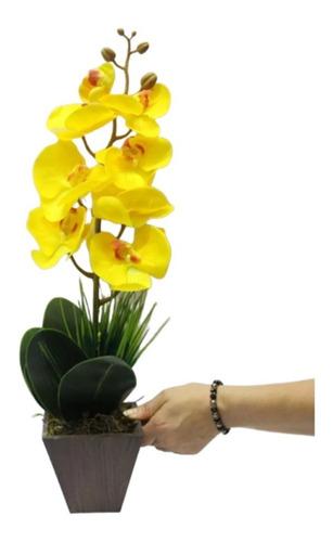 arranjo artificial orquídea silicone amarela enfeites mesa 0