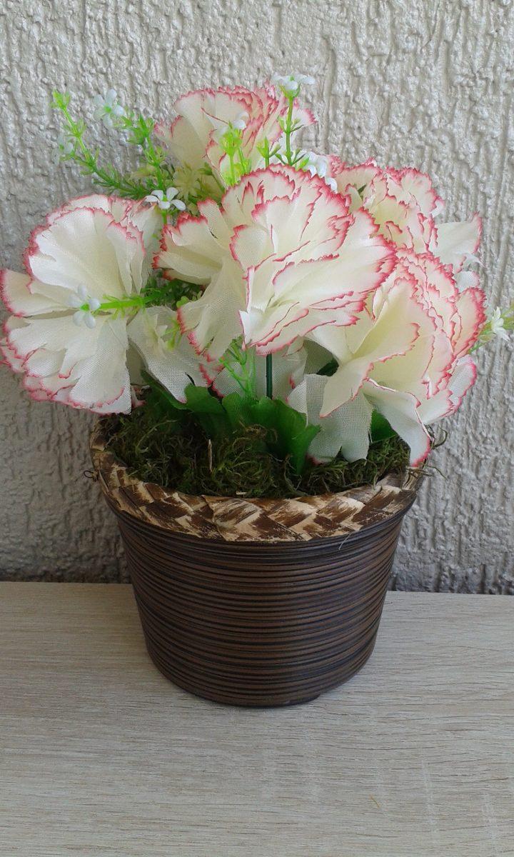 ff717c375 arranjo de flores artificiais cravo branco rosa lindo. Carregando zoom.