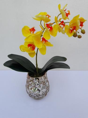 arranjo de orquídea artificial decorar sua mesa de jantar