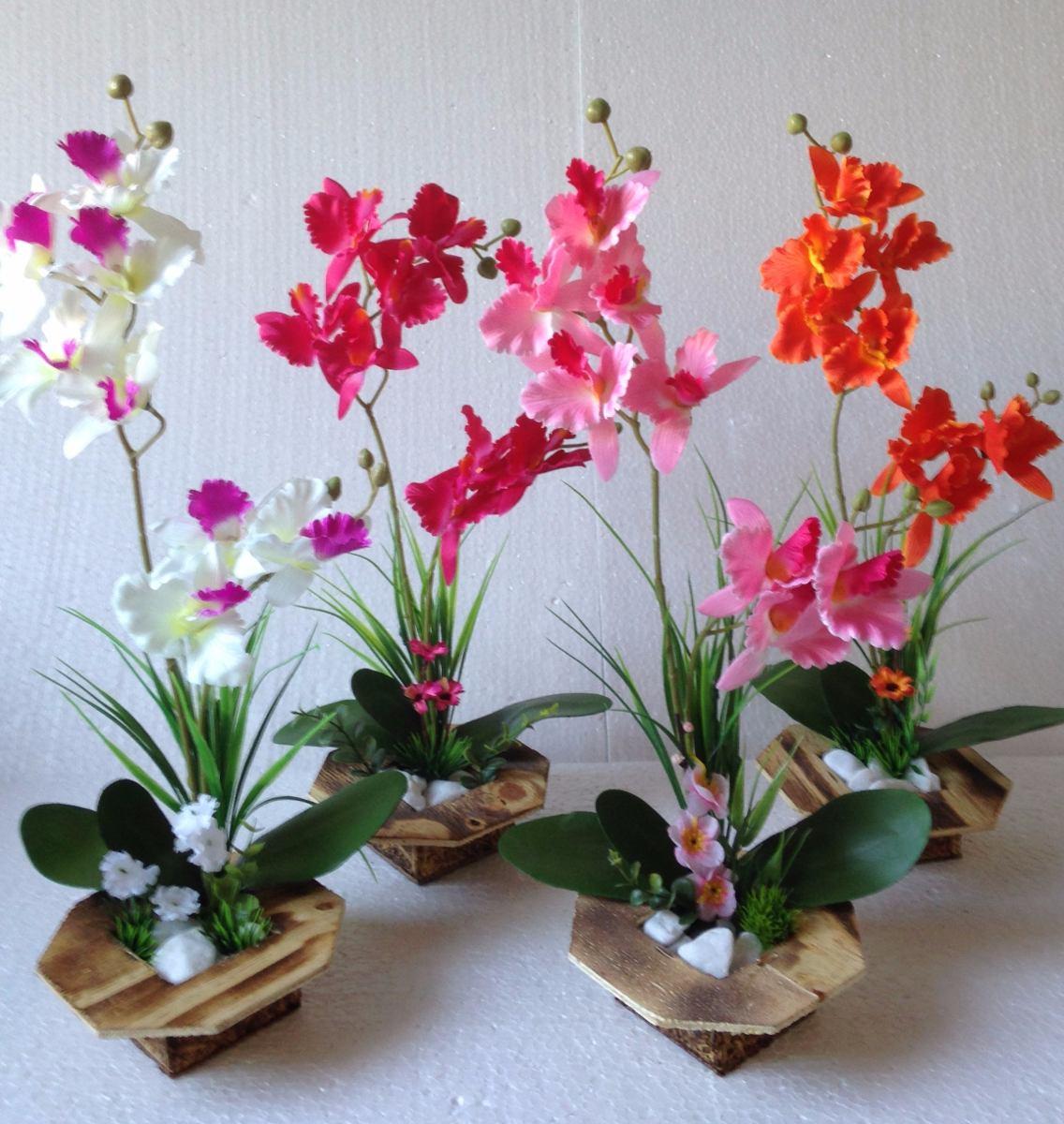 #AB2026 Arranjo De Orquídea Artificial Vaso De Madeira R$ 39 00 em Mercado  1136x1200 px caixas de madeira para orquideas @ bernauer.info Móveis Antigos Novos E Usados Online