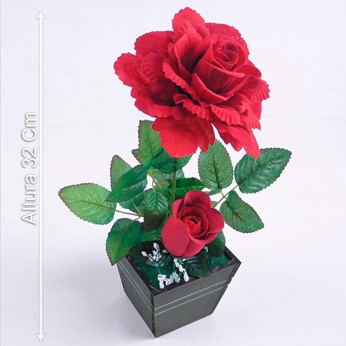 Arranjo De Rosa Vermelha 32 Cm Flores Artificiais