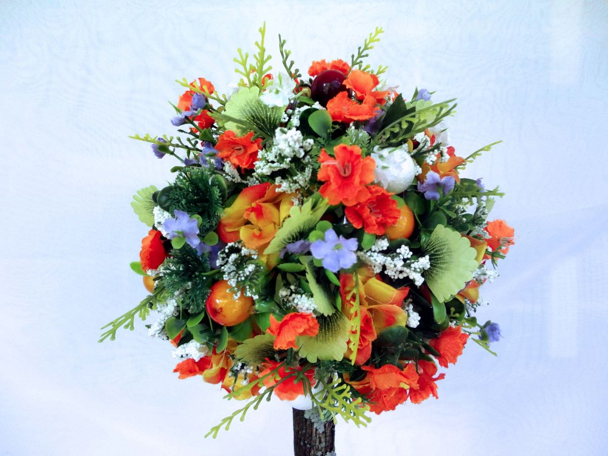Arranjo Floral Flores Artificiais De Seda Topiaria R$ 85,00 em Mercado Livre -> Decoração Arranjos De Flores Artificiais