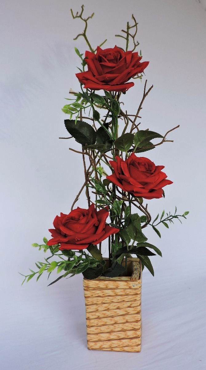 Arranjo Flores Artificiais Rosas Mesa Festa Rosa Vermelha R$ 23,80 em Mercado Livre # Decoração Arranjos De Flores Artificiais