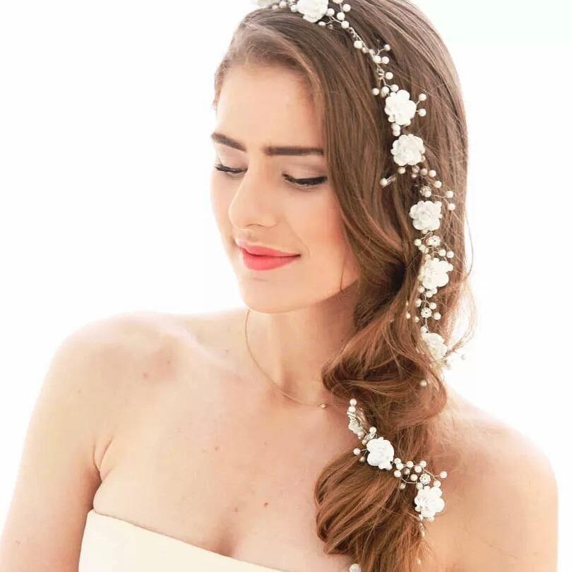 Arranjo Noiva Tiara Flores Perola Cabelo 15 Anos Cristais