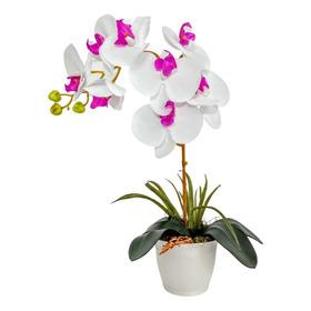 Arranjo Orquídea Artificial Branco Rosa Com Vaso Branco Mesa