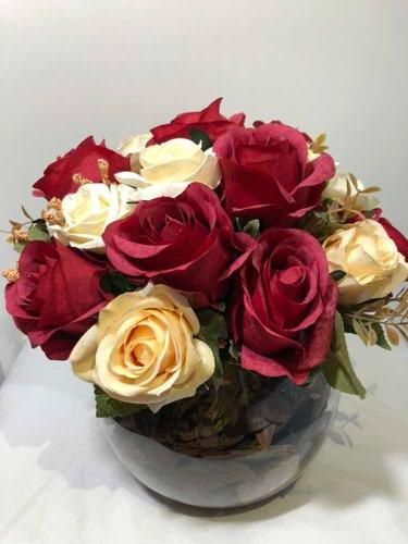 arranjo rosas vermelhas/brancas artificiais vaso de vidro