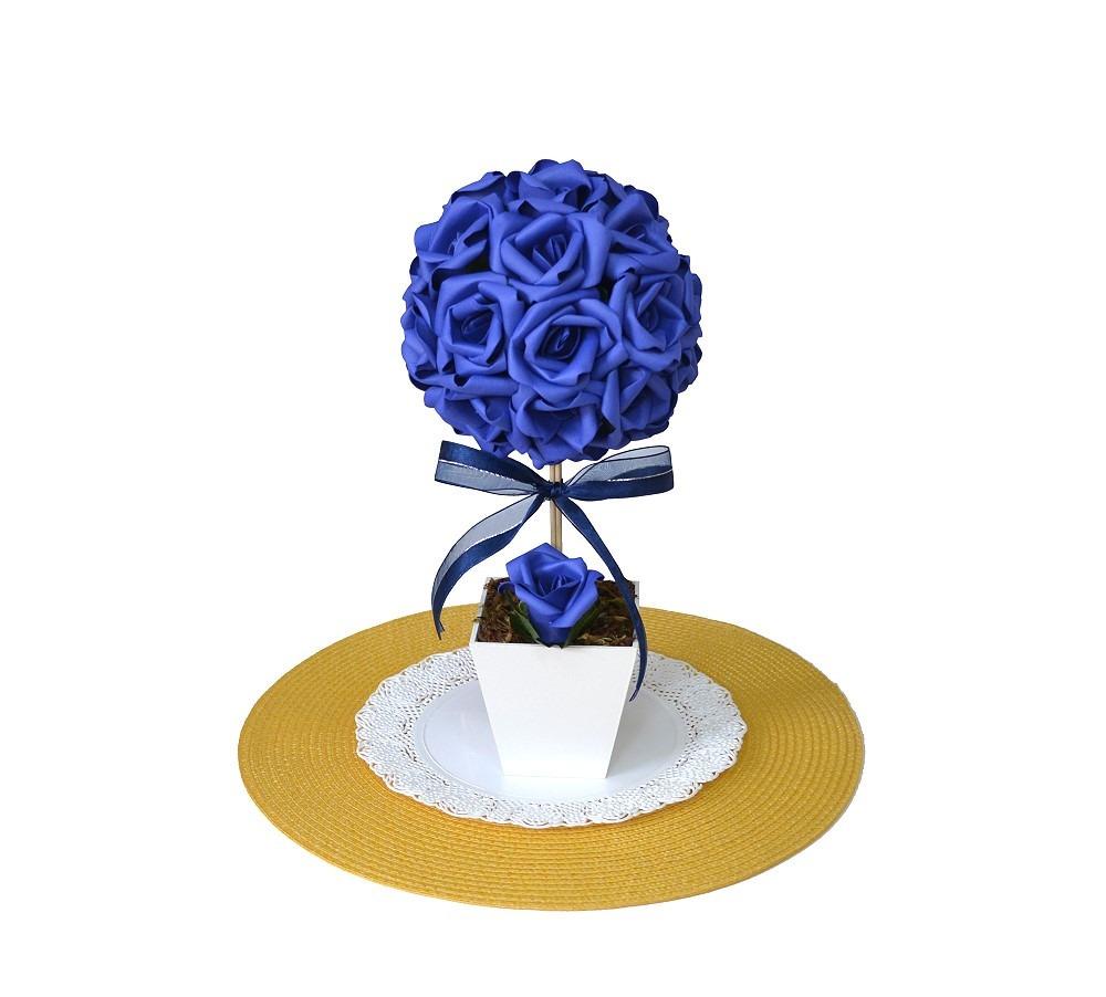 Arranjo Topiaria Rosas Azul Royal Decoraç u00e3o Centro De Mesa R$ 48,20 em Mercado Livre -> Enfeites De Mesa Para Casamento Azul E Branco