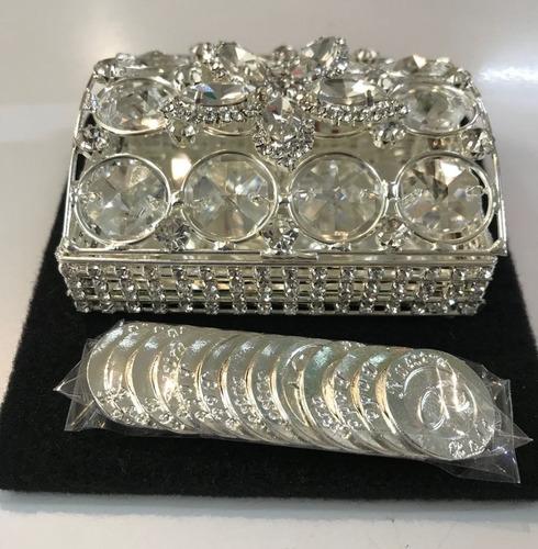 arras boda chapa de plata espejo con cristal swarovski