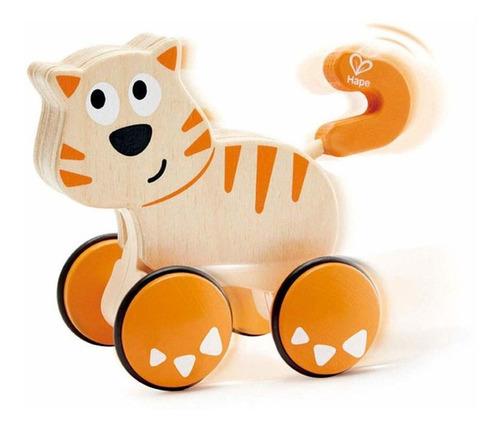 arrastre gato de madera bebe animales hape e0363 educando