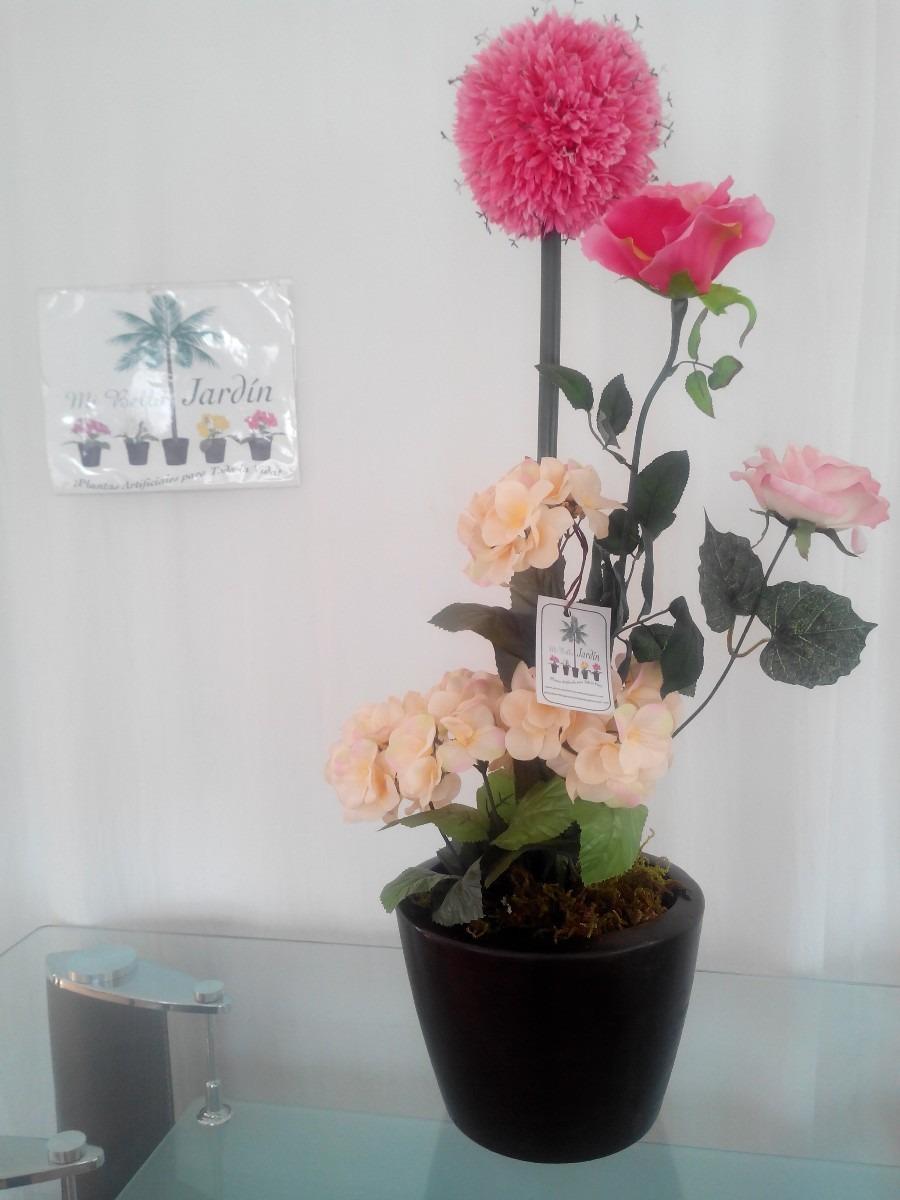 Arreglo con flores en maceta maa 1 en mercado libre for Arreglos de jardines con macetas