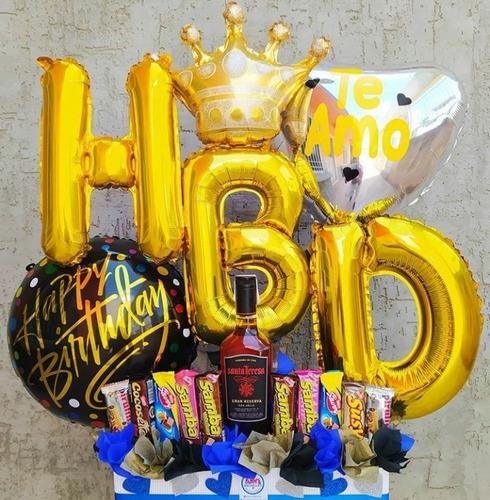 arreglo con globos para cumpleaños