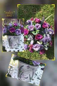 Arreglo De Cubeta Tipo Aluminio Con Flor Artificial