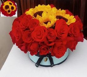 Arreglo De Flores Caja Decorativa Rosas Y Girasol Florería