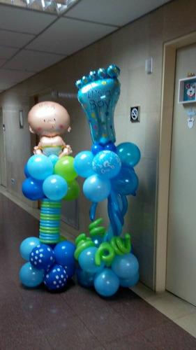 arreglo de globo columna clinica bebe nacimiento baby shower