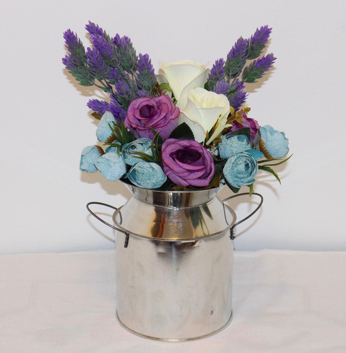 Arreglo floral centro de mesa flores artificiales lechero en mercado libre - Centro de mesa con flores ...