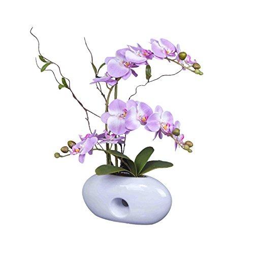 Arreglo Floral Con Jarrón Decorativo Orquídea Artificial P