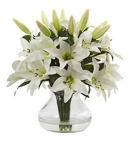 Arreglo Floral De Flores Blancas De 135 Lirio Blanco En