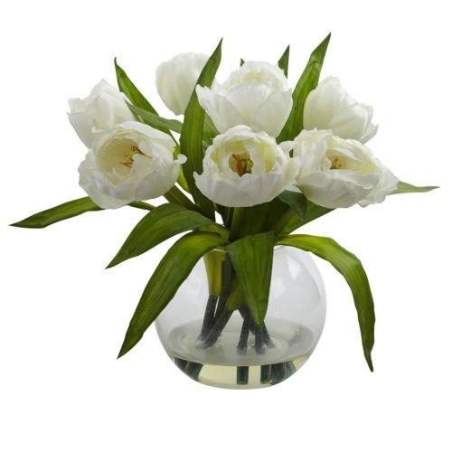 Arreglo Floral De Seda Con Tulipanes Blancos Y Jarrón