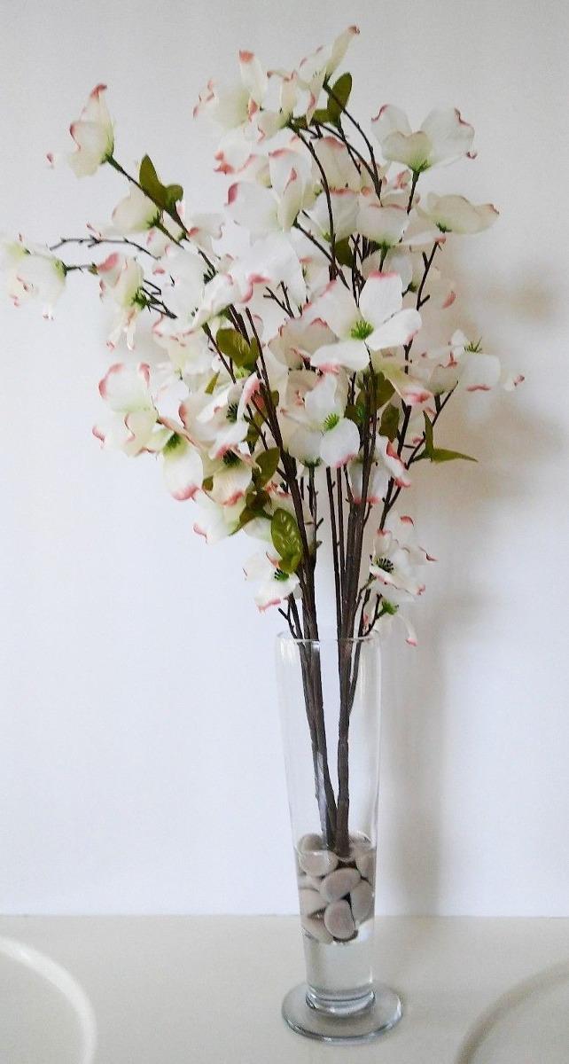 Arreglo Floral Faux White Silk Dogwood En Jarrón De Vidrio