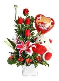 Arreglo Floral Feliz Dia Del Amor Rosas San Valentin