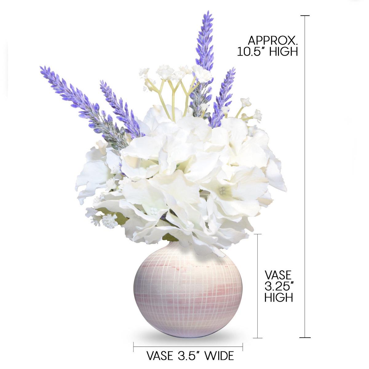 Arreglo Floral Flores De Seda Blanca Hortensia Lavanda Cynt