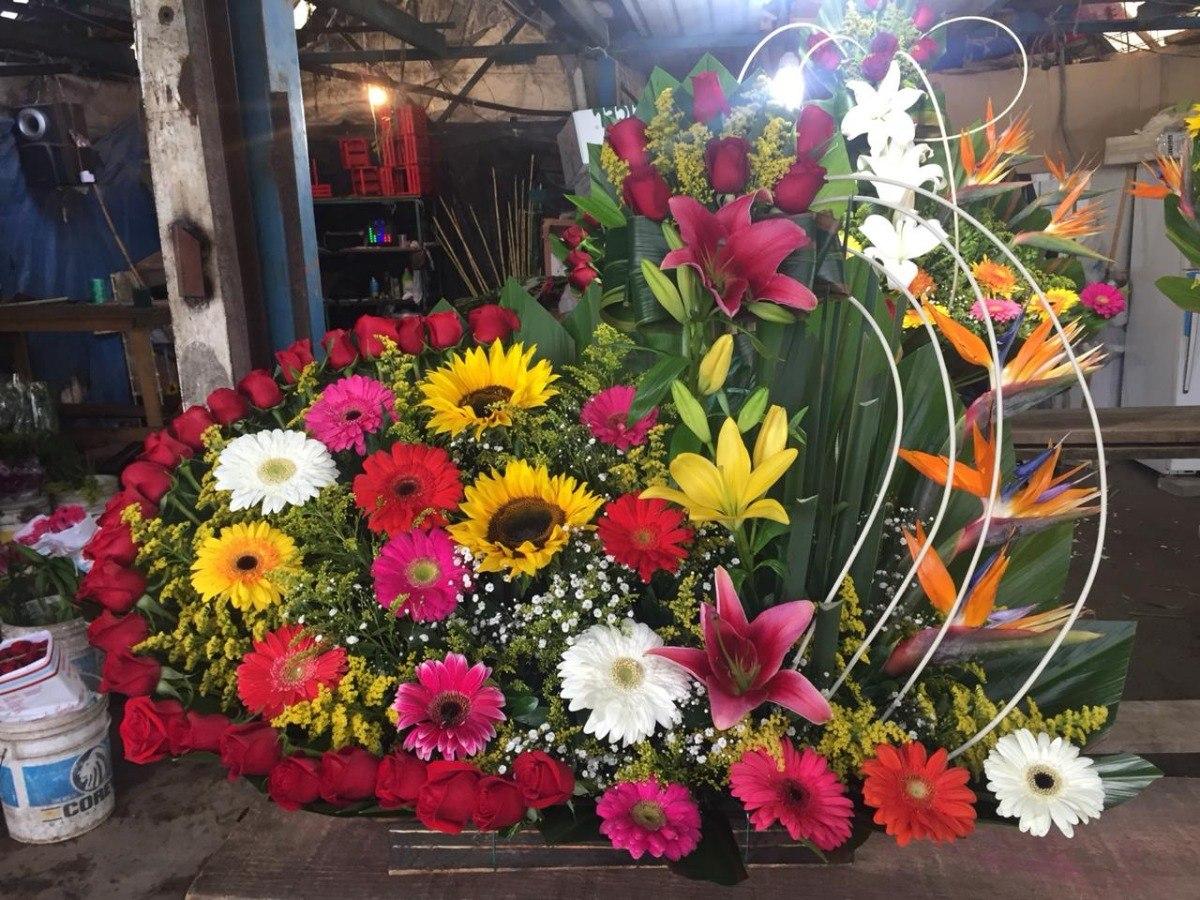 Arreglo Floral Gerberas Girasoles Rosas 80cmx1m Cdmx Df