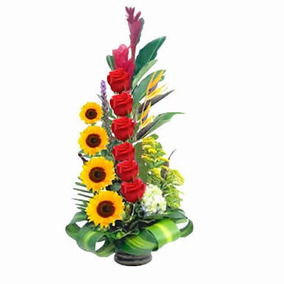 Arreglo Floral Girasol Y Rosas Solo Entrega En Cdmx Df