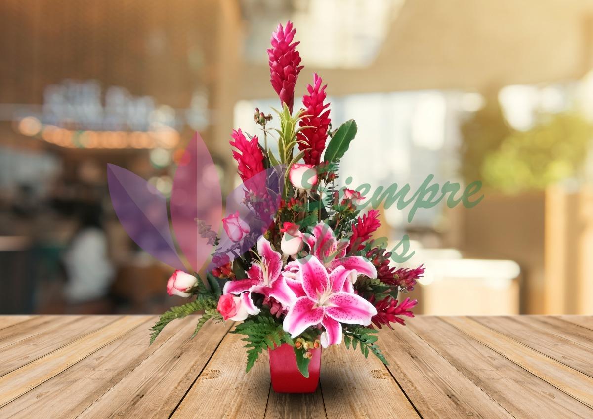 Arreglo Floral Rosas Lilium Flores Detalles Regalos