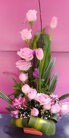 Arreglo Floral Varias Flores Base De Ceramica