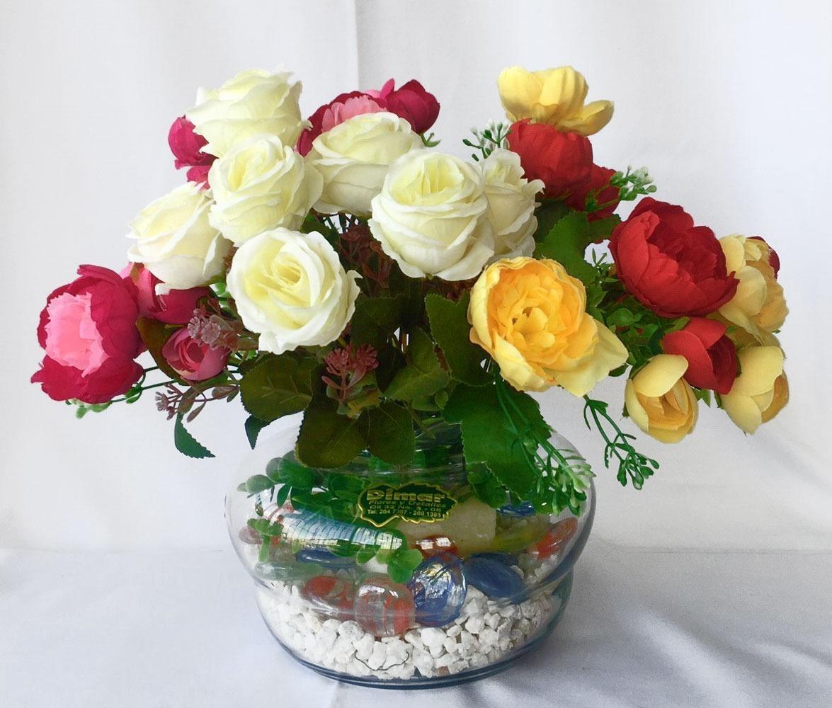 Arreglo Flores Artificial Redondo Decoracion Centro De Mesa