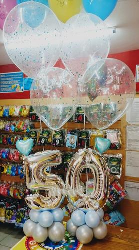 arreglo o bouquet de globos 2 numeros mas globos helio