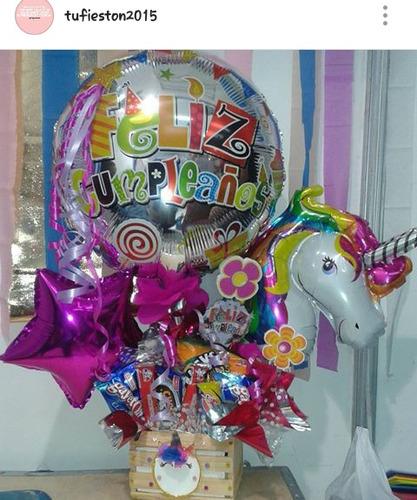 arreglos con globos y dulces